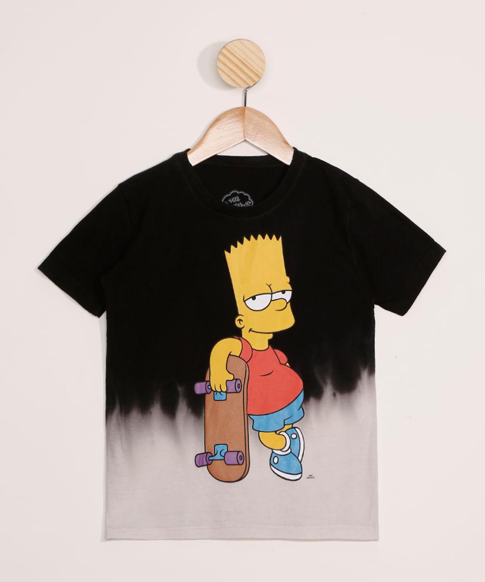 Camiseta Infantil Estampada Tie Dye Bart Simpson Manga Curta Preta