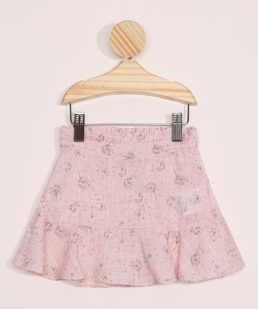 Saia Infantil Estampada Floral com Babado Rosa