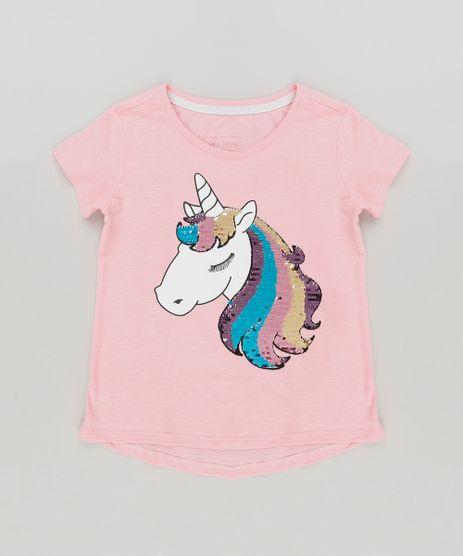 Blusa-Infantil-Unicornio-com-Paete-Dupla-Face-Manga-Curta-Decote-Redondo-em-Moletom-de-Algodao---Sustentavel-Rosa-9131094-Rosa_1