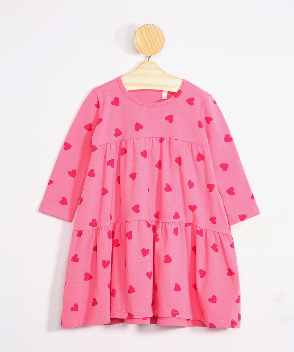 Vestido Infantil Estampado de Corações Manga Longa Decote Redondo Pink