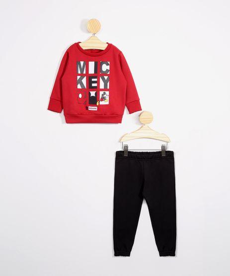 Conjunto-Infantil-de-Moletom-Blusao-Mickey-Vermelho---Calca-Jogger-Preto-9976213-Preto_1