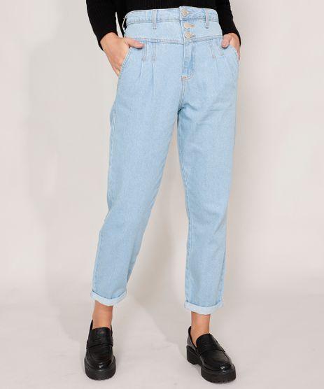 Calca-Mom-Jeans-com-Pregas-Cintura-Super-Alta-Azul-Claro-9988934-Azul_Claro_1