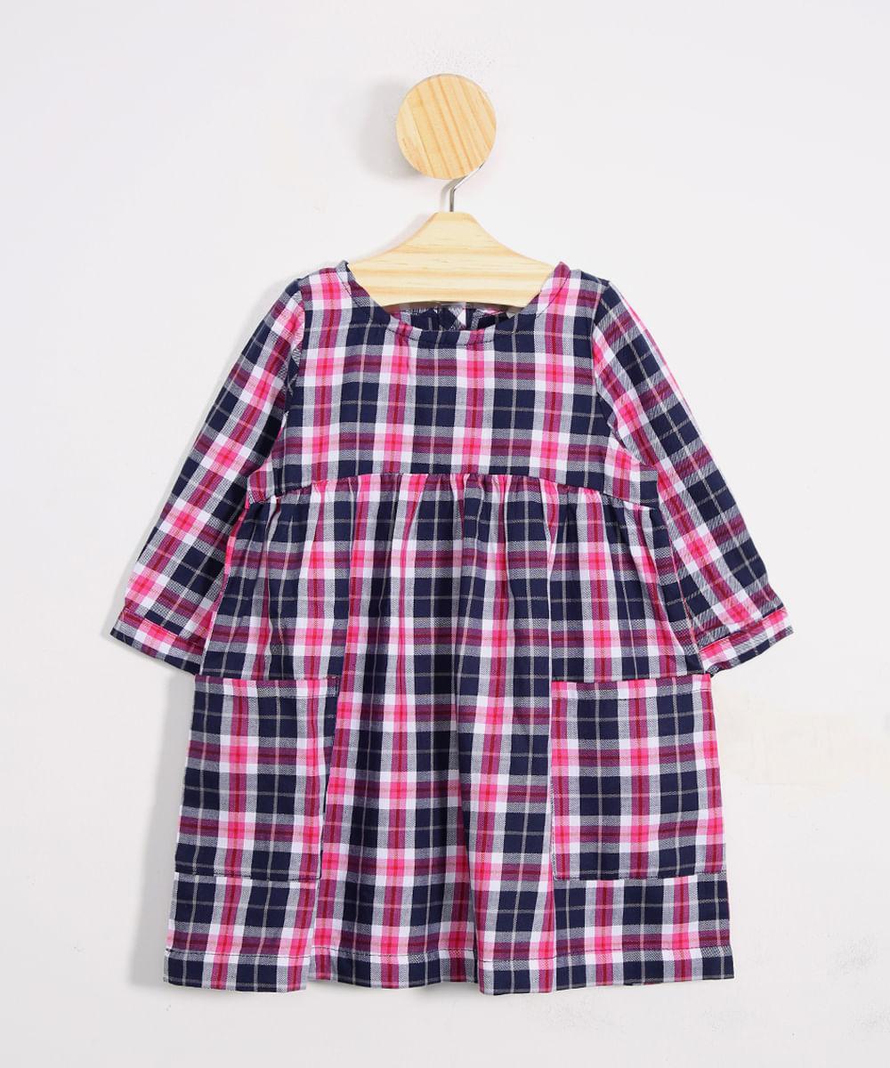 Vestido Infantil Estampado Xadrez Manga Longa Decote Redondo + Meia Calça Rosa Escuro