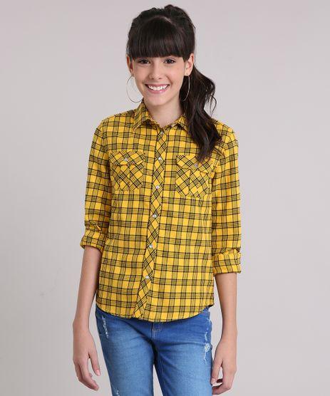Camisa-Infantil-Xadrez-Manga-Longa-Gola-Esporte-Amarelo-Escuro-8445066-Amarelo_Escuro_1