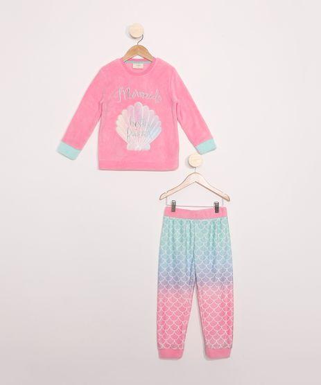 Pijama-Infantil-de-Fleece-Manga-Longa-Sereia--Rosa-9972644-Rosa_1