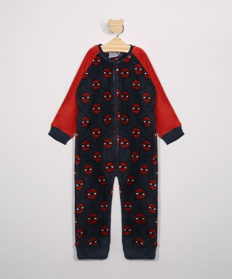 Macacao-Pijama-Infantil-de-Fleece-Estampado-de-Homem-Aranha-Manga-Longa-Azul-9972640-Azul_1