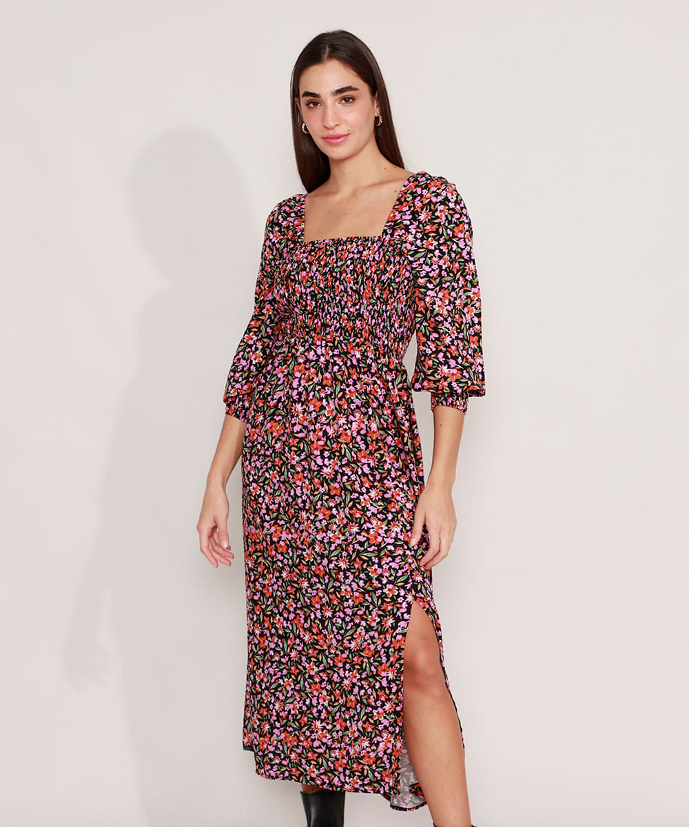 Vestido Tal Mãe Tal Filha de Viscose Estampado Floral com Fenda e Lastex Midi Manga Bufante Preto