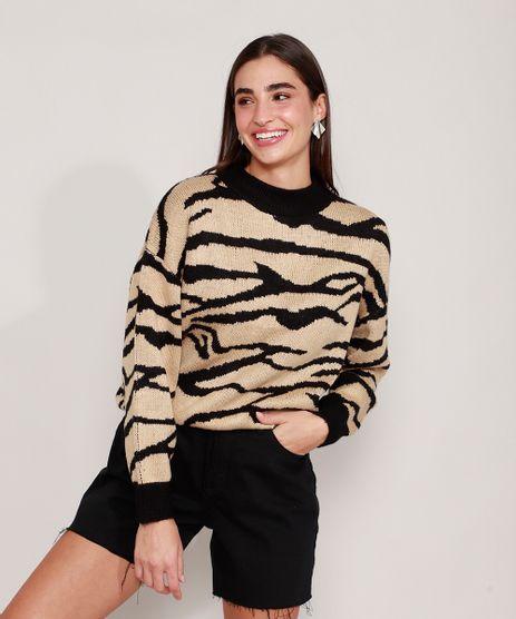 Sueter-Amplo-de-Trico-Estampado-Animal-Print-Zebra-Decote-Redondo-Bege-9811711-Bege_1