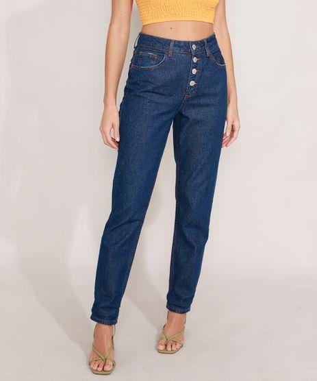 Calca-Mom-Jeans-com-Botoes-Cintura-Super-Alta-Azul-Escuro-9991522-Azul_Escuro_1