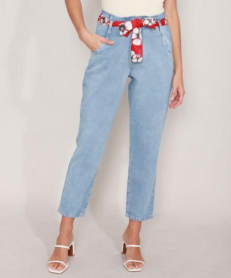 Calca-Mom-Jeans-com-Lenco-Estampado-Floral-Cintura-Super-Alta-Azul-Claro-9986189-Azul_Claro_1