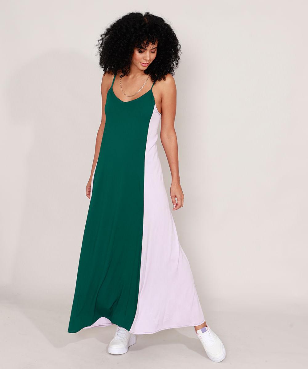 Vestido com Recorte Longo Alça Fina Off White