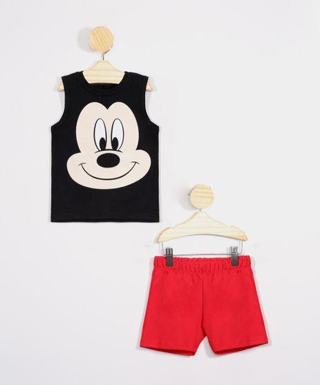 Conjunto-Infantil-Mickey-de-Regata-Preta---Bermuda-Vermelho-9975698-Vermelho_1