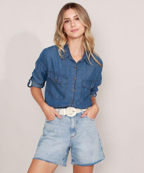 Camisa-Jeans-com-Bolsos-Manga-Longa-Azul-Escuro-9988999-Azul_Escuro_1