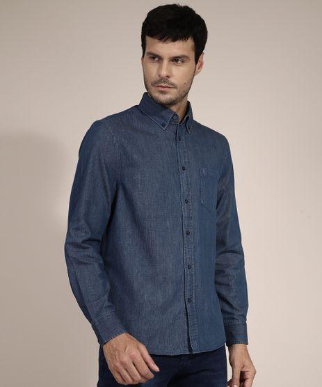Camisa-Jeans-Comfort-Estampada-Xadrez-com-Bolso-Manga-Longa-Azul-Escuro-9973872-Azul_Escuro_1