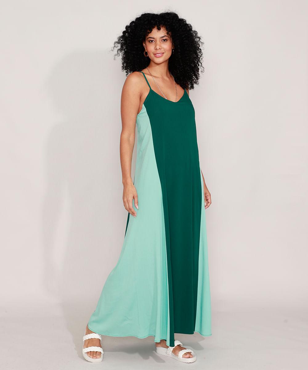 Vestido com Recorte Longo Alça Fina Verde Claro