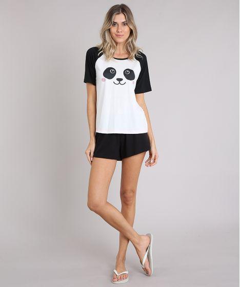 e5e2beb101 Pijama Feminino com Estampa de Panda Raglan Manga Curta Off White - cea