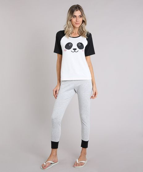 Pijama-Feminino-com-Estampa-de-Panda-Raglan-Manga-Curta-Off-White-9007182-Off_White_1