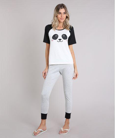 3d1676bfa Pijama Feminino com Estampa de Panda Raglan Manga Curta Off White - cea