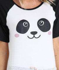 b4bb62462 Pijama Feminino com Estampa de Panda Raglan Manga Curta Off White ...