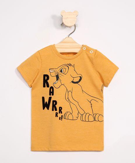 Camiseta-Infantil-Simba-Flocado-Manga-Curta-Amarela-9979669-Amarelo_1
