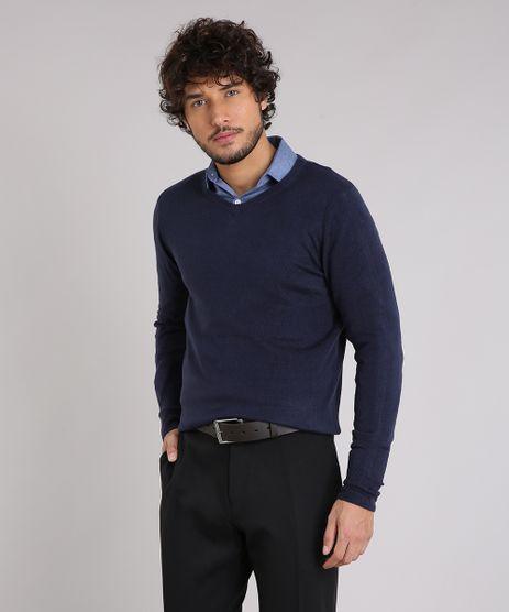 Sueter-Masculino-Basico-em-Trico-Manga-Longa-Gola-V--Azul-Marinho-8464179-Azul_Marinho_1