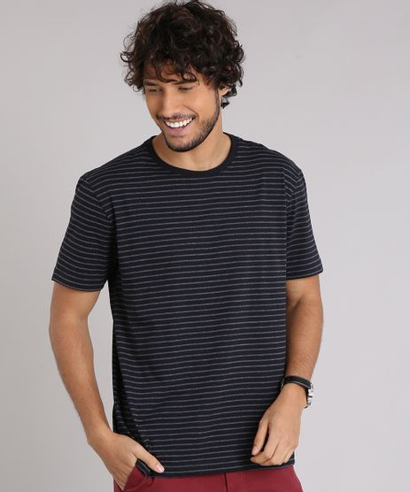 Camiseta-Masculina-Basica-Listrada-Manga-Curta-Gola-Careca-Preta-8818833-Preto_1