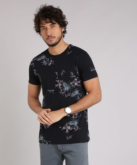 Camiseta-Masculina-Slim-Fit-Estampada-Floral-Manga-Curta-Gola-Careca-em-Algodao---Sustentavel-Preta-9197264-Preto_1