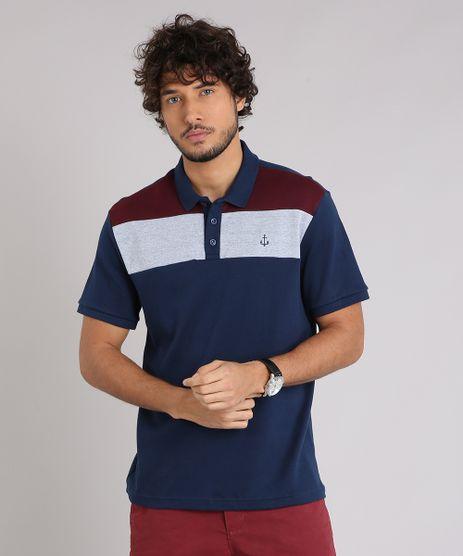 Polo-Masculina-com-Recortes-e-Bordado-Manga-Curta-Azul-Marinho-9206127-Azul_Marinho_1