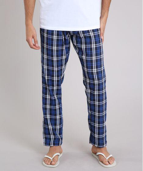 9ec490224 Calça de Pijama Masculina em Flanela Xadrez Azul Marinho - cea