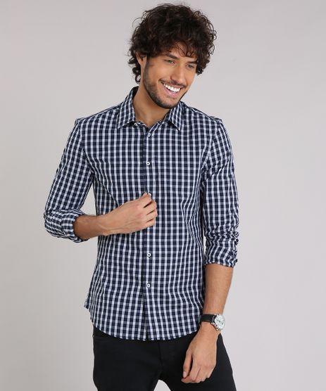 Camisa-Masculina-Slim-Xadrez-Manga-Longa-Azul-Marinho-8897340-Azul_Marinho_1