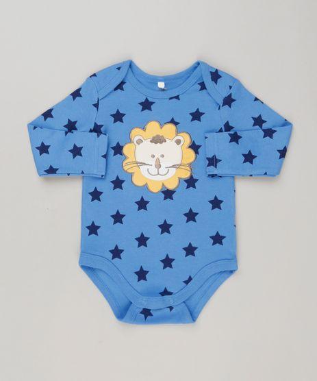 Body-Infantil-Leao-Estampado-de-Estrelas-Manga-Longa-em-Algodao---Sustentavel-Azul-8941273-Azul_1