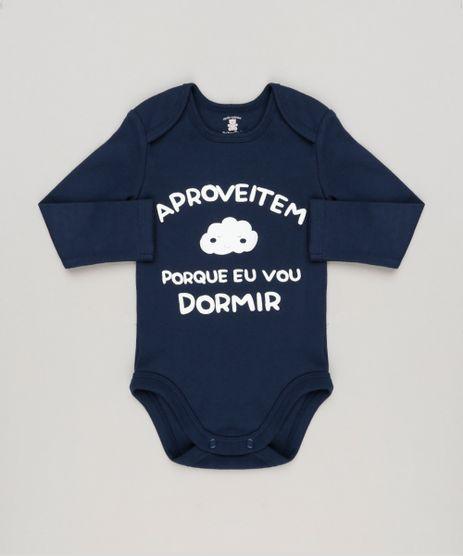 Body-Infantil--Aproveitem-Porque-Eu-Vou-Dormir--Manga-Longa-Decote-Redondo-em-Algodao---Sustentavel-Azul-Marinho-8922359-Azul_Marinho_1