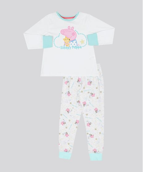 d73cb8e318 Pijama-Infantil-Peppa-Pig-Brilha-no-Escuro-Manga-