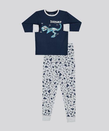 Pijama-Infantil-Dinossauro-Manga-Longa-Gola-Careca-em-Moletom-Cinza-Mescla-9133206-Cinza_Mescla_1