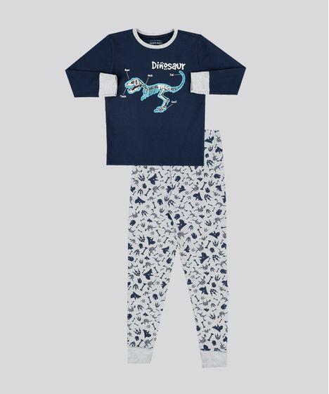 9bbcea4cd Pijama Infantil Dinossauro Manga Longa Gola Careca em Moletom Cinza ...