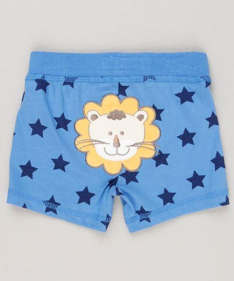 Short-Infantil-Leao-Estampado-de-Estrelas-em-Algodao---Sustentavel-Azul-8941301-Azul_1