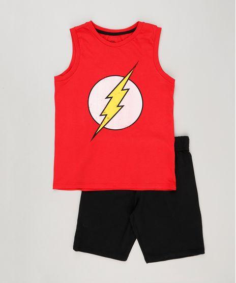 Conjunto-Infantil-de-Regata-The-Flash-Vermelha---Bermuda-em-Moletom-Preta-9222980-Preto_1