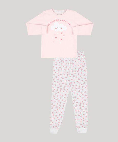 Pijama-Infantil--Durma-Bem-Menina---Manga-Longa-Decote-Redondo-em-Moletom-Cinza-Mescla-Claro-9133035-Cinza_Mescla_Claro_1