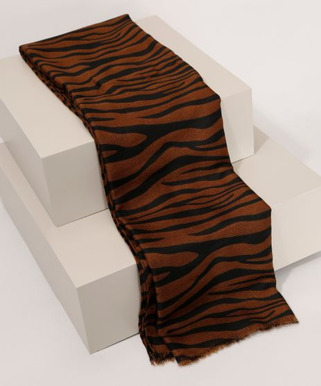 Lenco-Feminino-Estampado-Animal-Print-Zebra-Marrom-9841675-Marrom_1