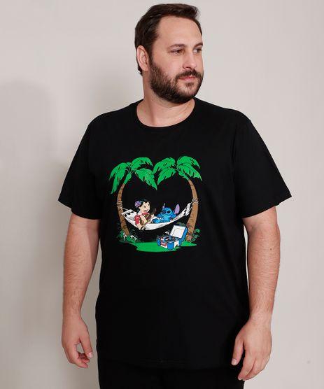 Camiseta-de-Algodao-Plus-Size-Lilo-e-Stitch-Manga-Curta-Gola-Careca-Preta-9989059-Preto_1