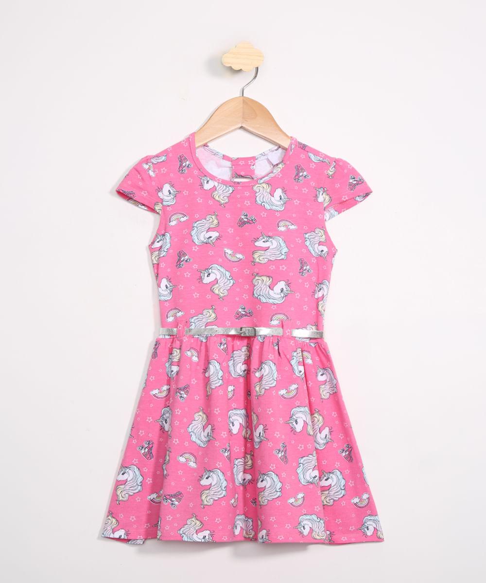 Vestido Infantil Estampado Unicórnios Manga Curta com Cinto Rosa