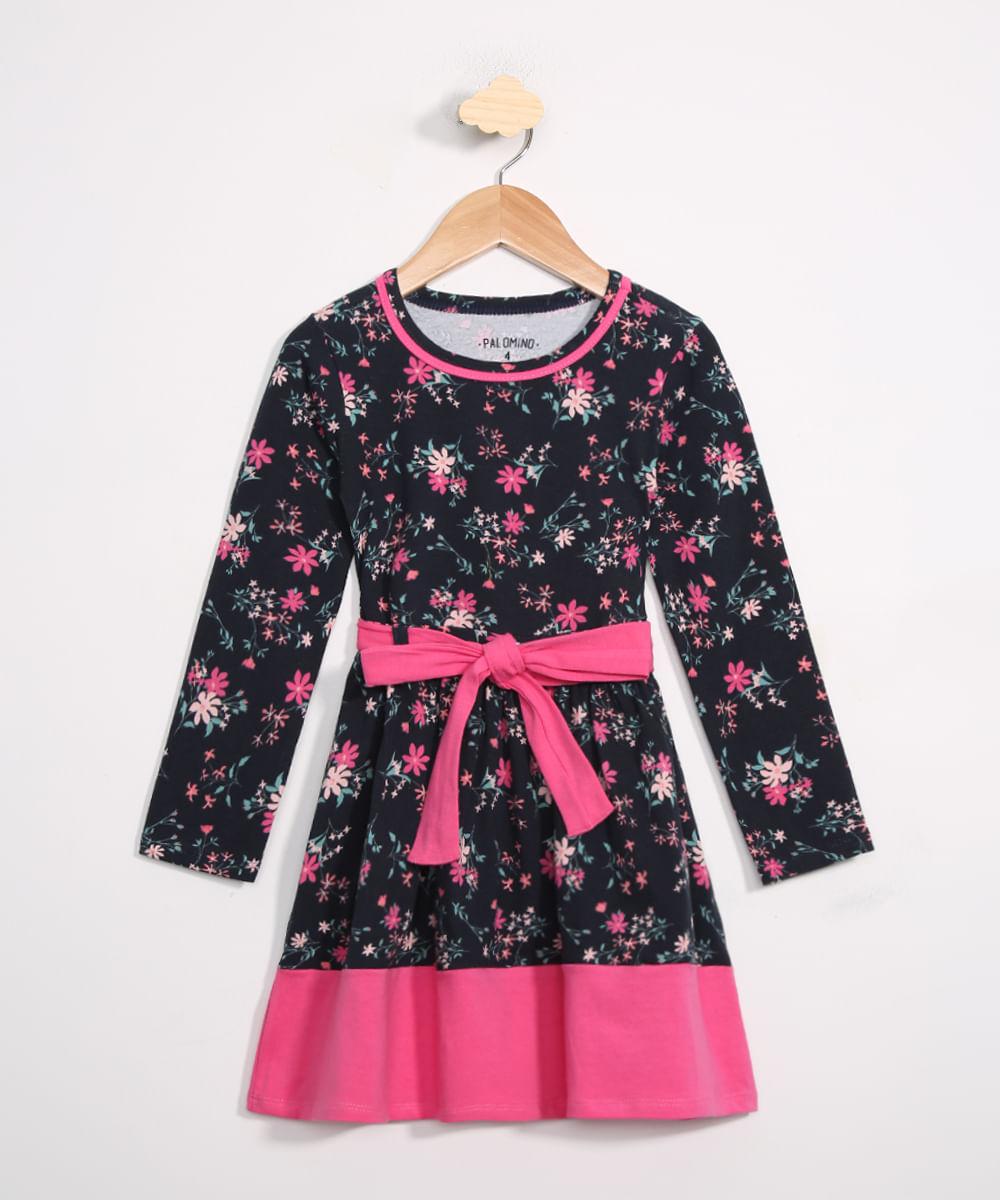 Vestido Infantil Estampado Floral Manga Longa Azul Marinha