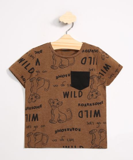 Camiseta-Infantil-Estampada-Simba-Manga-Curta-com-Bolso-Caramelo-9986766-Caramelo_1