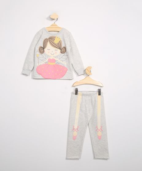Pijama-Infantil-de-Moletom-Manga-Longa-Bailarina-Brandili-Cinza-Mescla-Claro-9984179-Cinza_Mescla_Claro_1