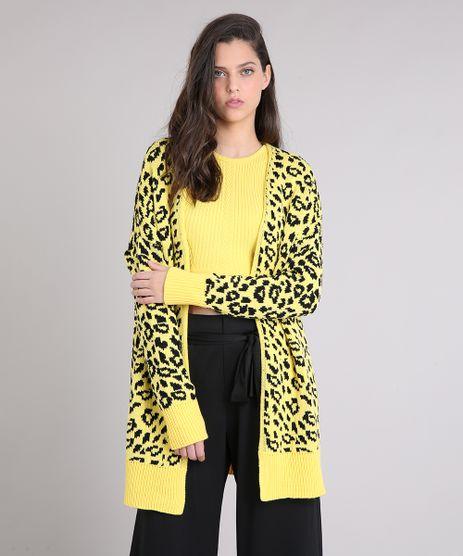 Casaco-Feminino-Longo-em-Tricot-Animal-Print-Amarelo-9256259-Amarelo_1