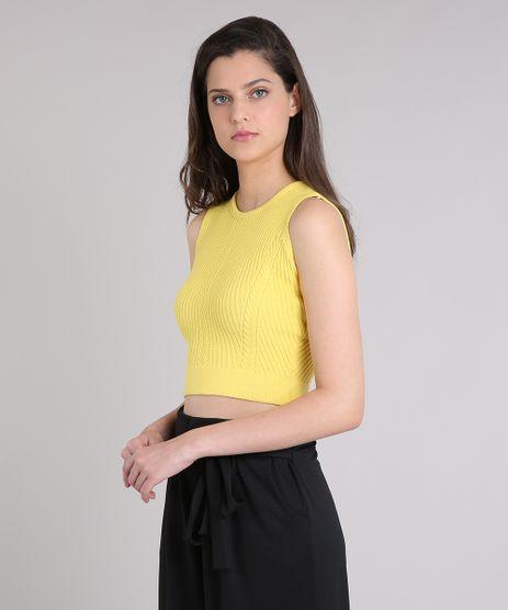 Regata-Feminina-Cropped-em-Tricot-Canelado-Decote-Redondo-Amarela-9256258-Amarelo_1