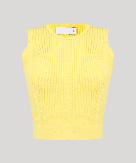 Regata-Feminina-Cropped-em-Tricot-Canelado-Decote-Redondo-Amarela-9256258-Amarelo_2