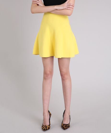 Saia-Evase-em-Tricot-Curta-Cintura-Alta-Amarela-9256257-Amarelo_1