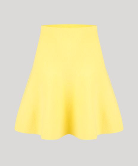 Saia-Evase-em-Tricot-Curta-Cintura-Alta-Amarela-9256257-Amarelo_2
