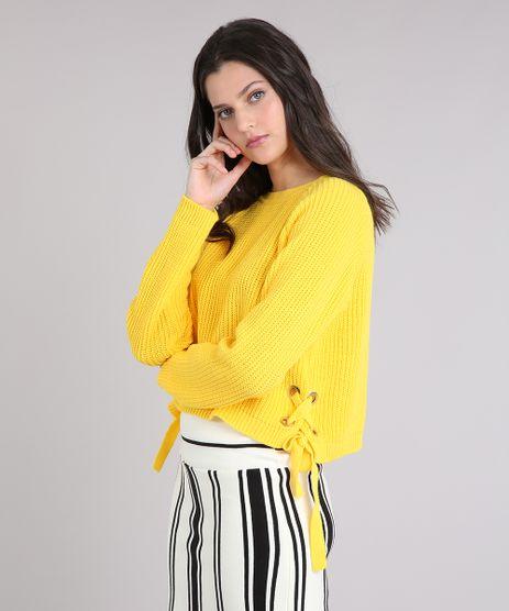 Sueter-Feminino-em-Tricot-com-Ilhos-e-Tiras--Amarelo-9250728-Amarelo_1